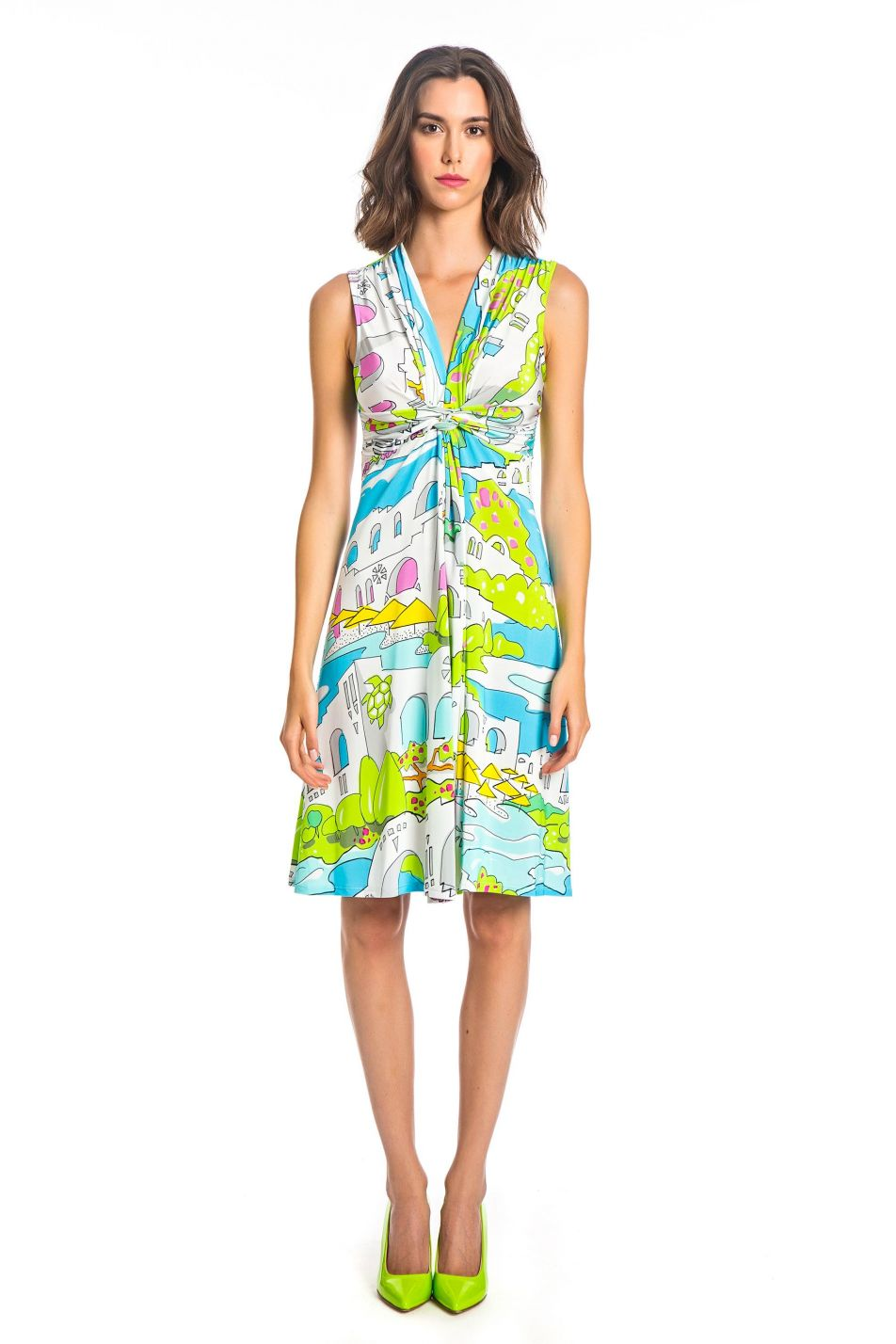 GREECE PRINT DRAPED DRESS