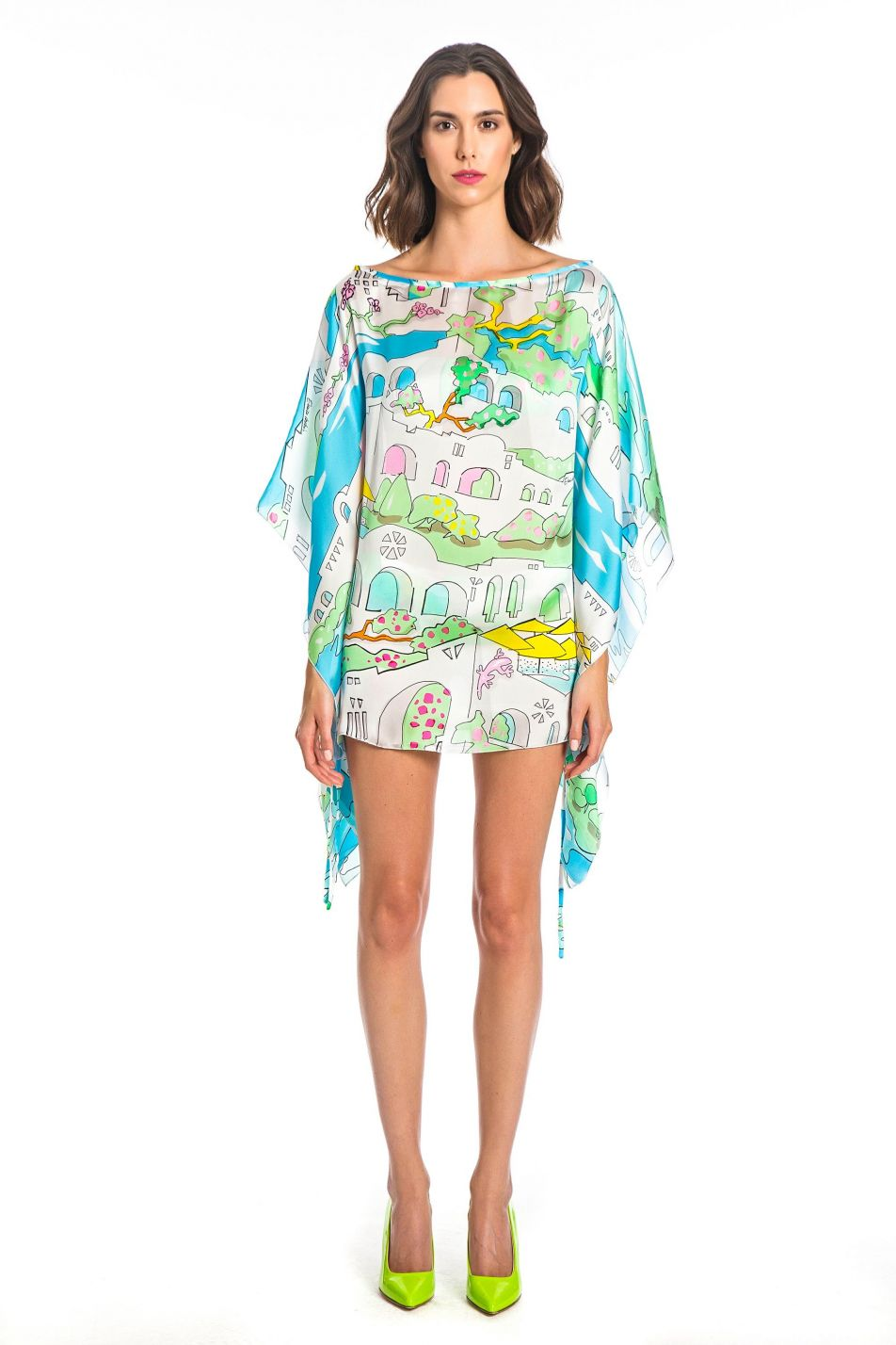 GREECE PRINT SILK KAFTAN