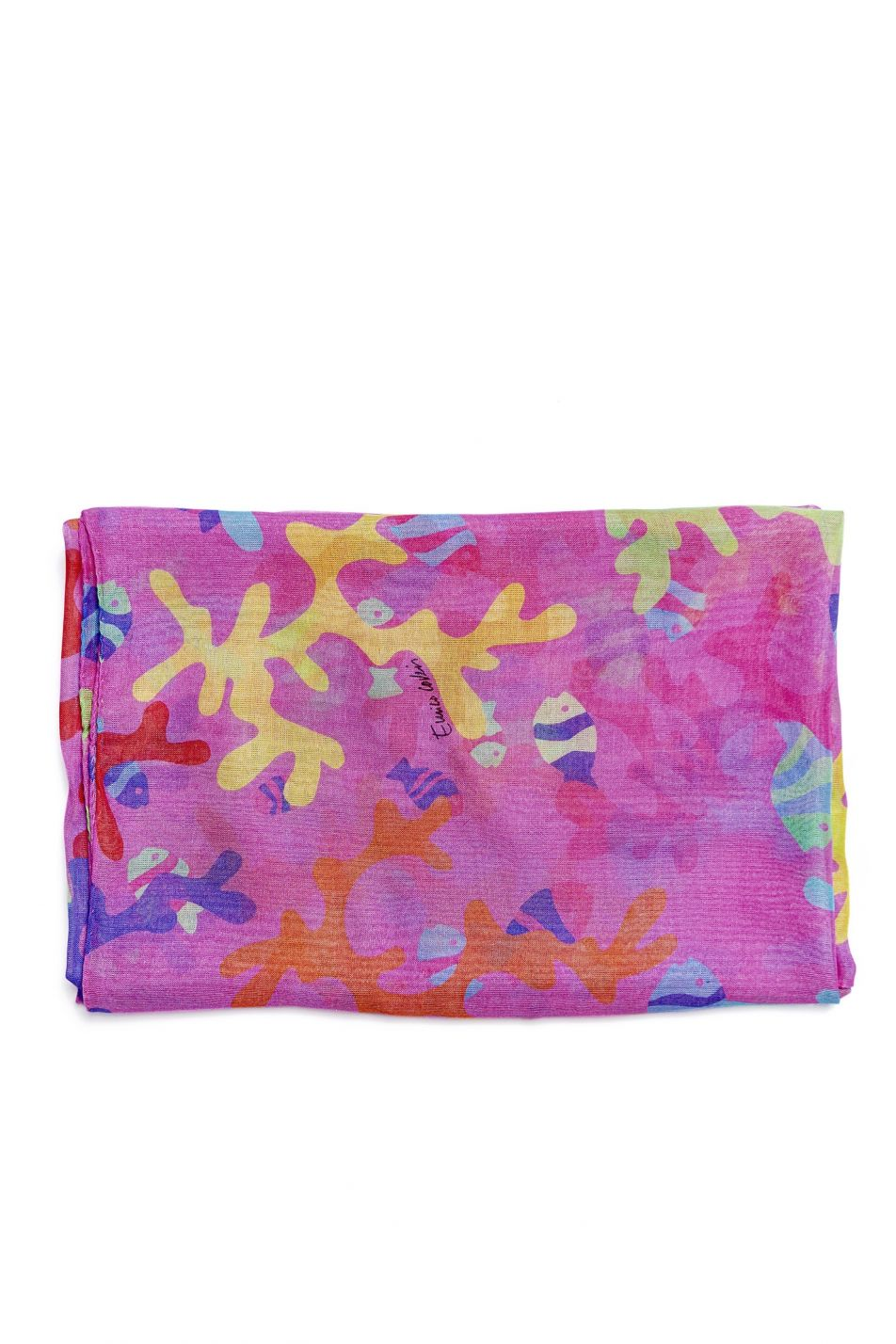 PINK CORAL PRINT SQUARE SCARF